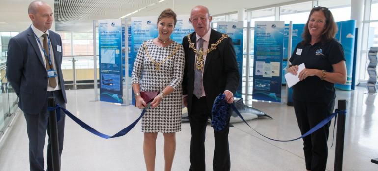Opening the Orcawatch display at Portsmouth International Port