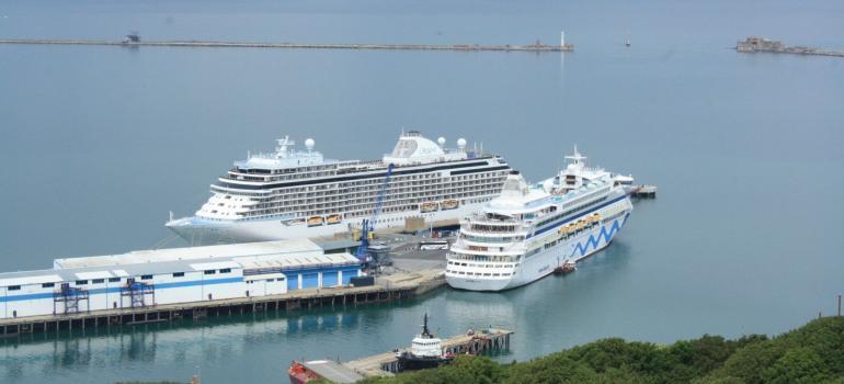 AIDAura and Seven Seas Explorer, Portland Port,12 June 2019 © Portland Port